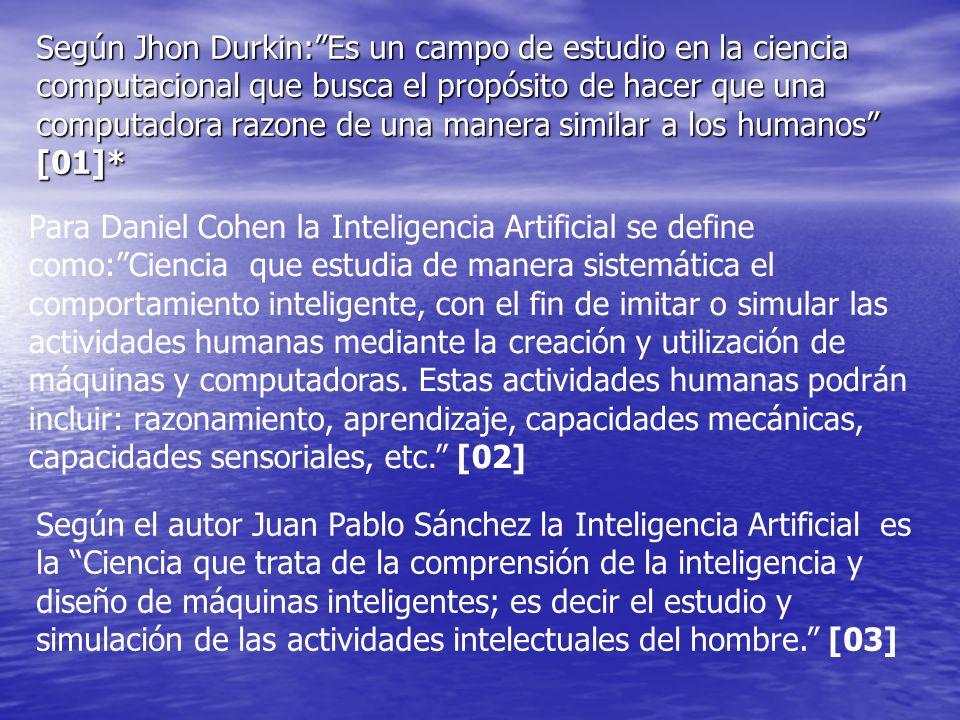 Según Jhon Durkin: Es un campo de estudio en la ciencia computacional que busca el propósito de hacer que una computadora razone de una manera similar a los humanos [01]*